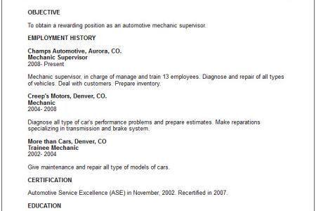 automotive mechanic resume samples unforgettable automotive