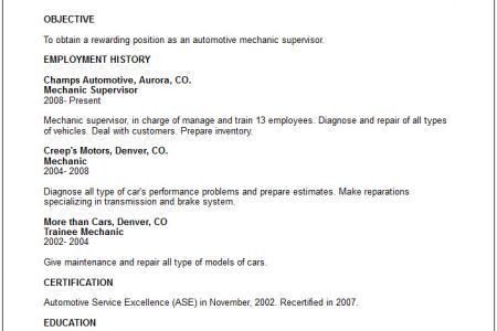 Pics Photos Automotive Mechanic Resume Example, Mechanic Resume ...