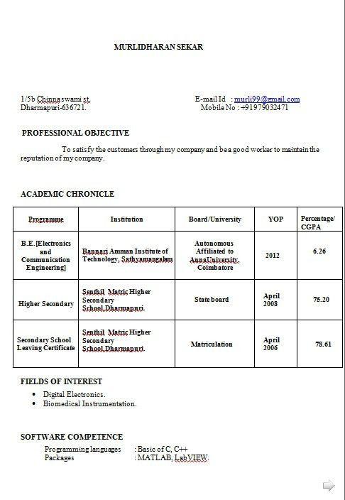 resume format for diploma holders 30 fresher resume templates