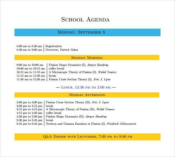Sample School Agenda - 8+ Documents in PDF, Word