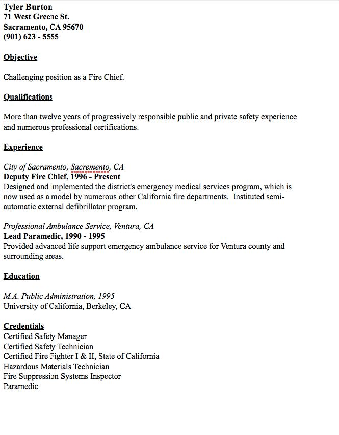 Example of Fire Chief Resume - http://resumesdesign.com/example-of ...