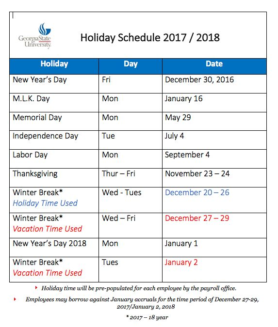 2017 / 2018 Holiday Schedule - HR Employee Services