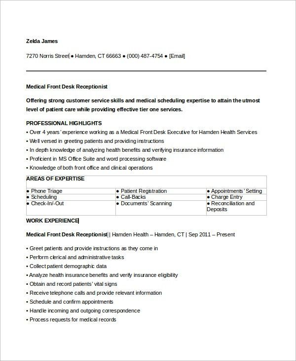 Sample Medical Receptionist Resume - 6+ Examples in Word, PDF