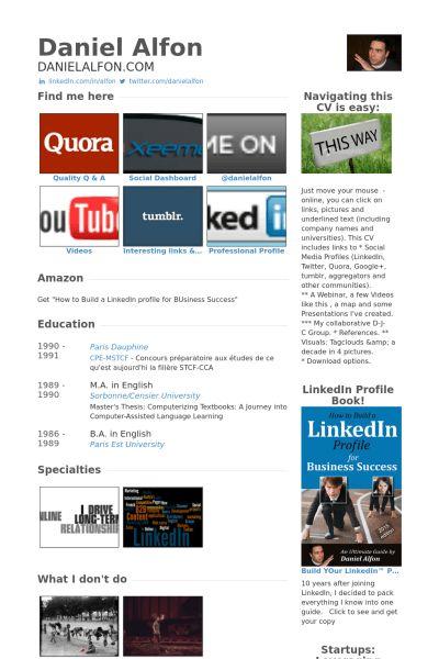 Social Media Resume samples - VisualCV resume samples database