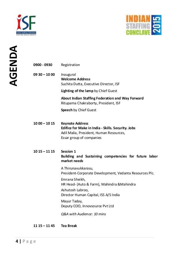 ISF Make in India - Skills Security Jobs -Agenda and Speaker profiles