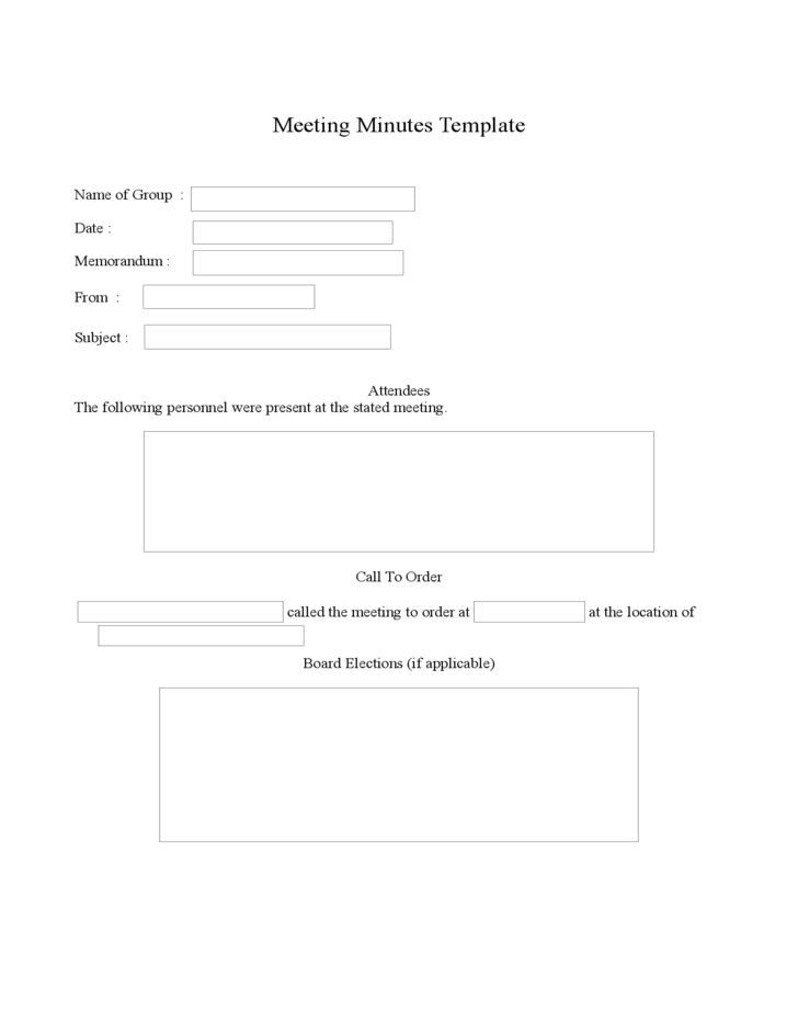 Sample Blank Meeting Minutes Template Free Download