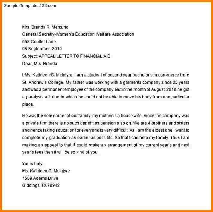 Financial Aid Appeal Letter. Background Image Of Page 1 Bottom ...