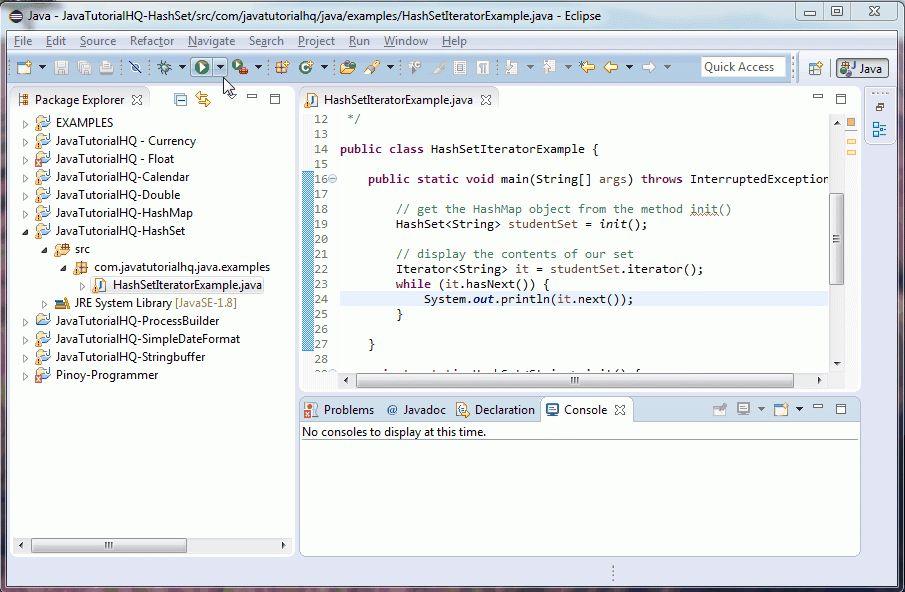 Java HashSet iterator() method example
