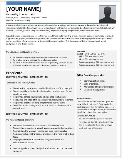 University Administrator Resumes for MS Word | Resume Templates