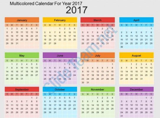 Multicolored Calendar For Year 2017 Flat Powerpoint Design ...