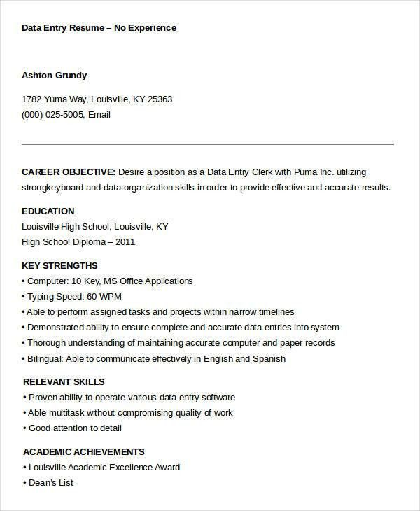 Data Entry Resume   5+ Free Word, PDF Documents Download | Free .