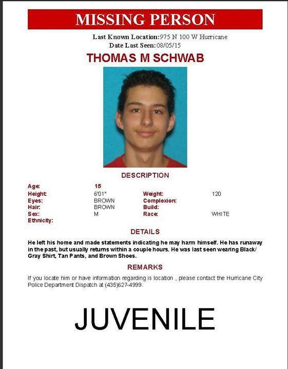 MISSING: 15-year-old Thomas Schwab – St George News