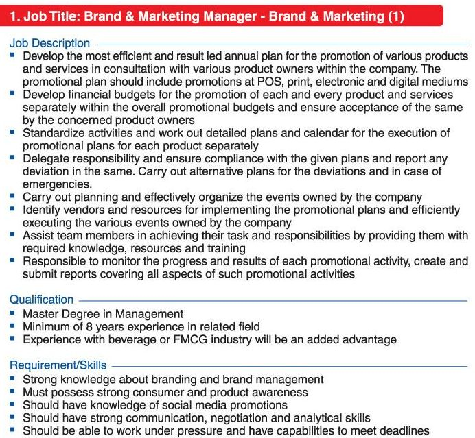Brand & Marketing Manager, Assistant Manager &
