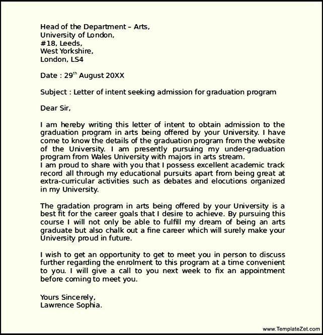 Letter Of Intent Graduate School. Graduate School Letter Of Intent ...
