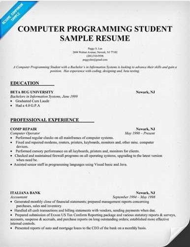 Computer Science Student Resume - Sample Resume Cover Letter Format