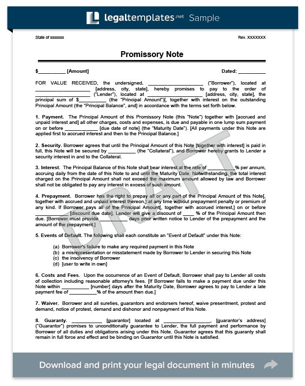 Promissory Note | Create a Free Promissory Note | Legal Templates