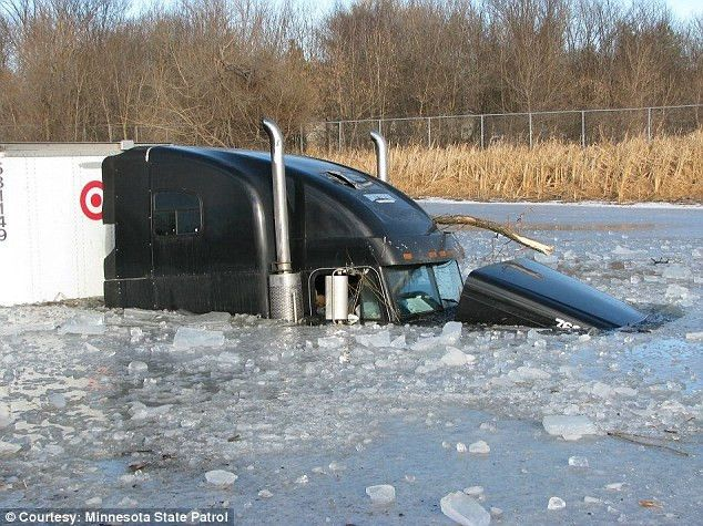 Target truck driver skids into icy pond 8-feet deep in water in ...