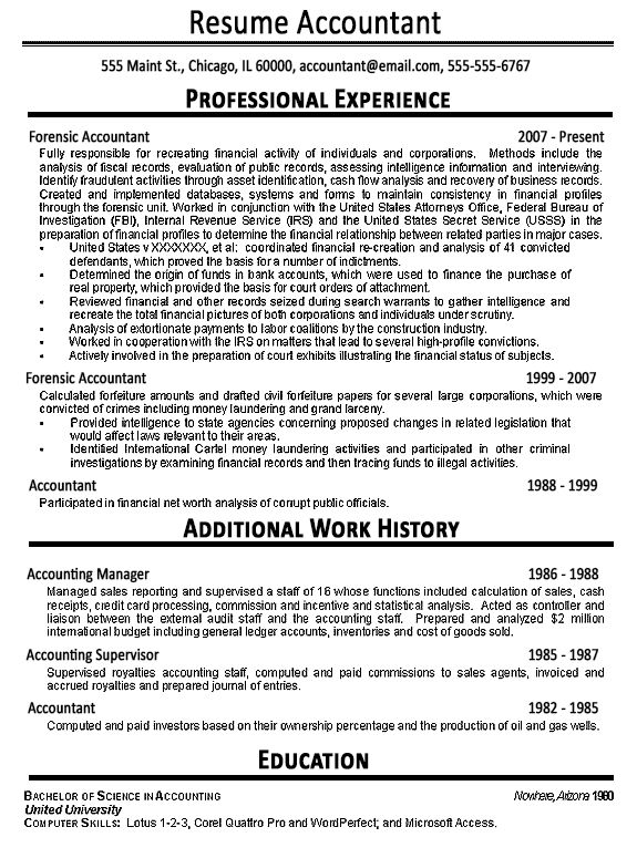 Accountant Resume Example - Sample