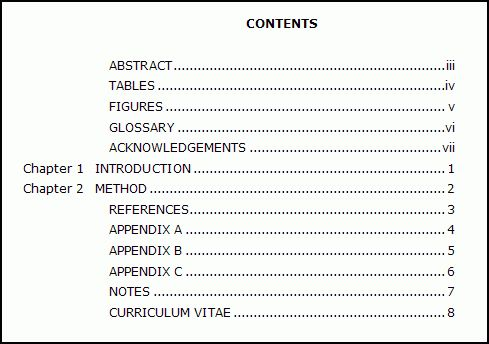 Sample apa research paper with table of contents