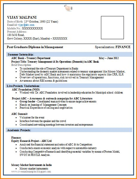 bestresumeformatforfreshers. ideas collection sample resume ...