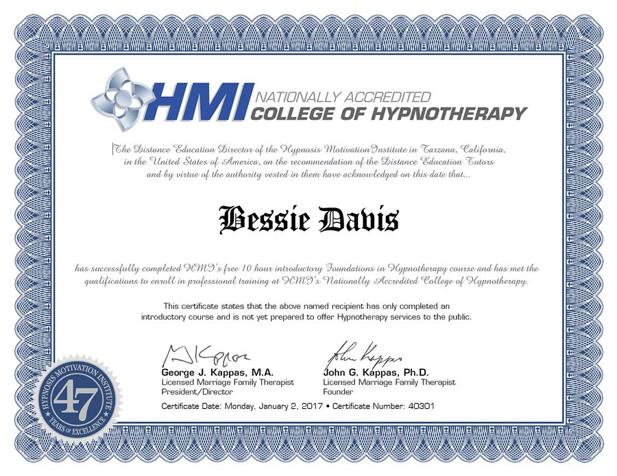 Foundations in Hypnotherapy - Volume 1 - HMI Distance Learning