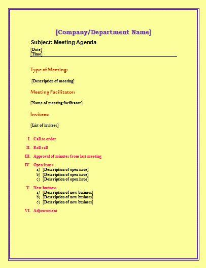 Agenda Template | Free Microsoft Word Templates | Free Microsoft ...