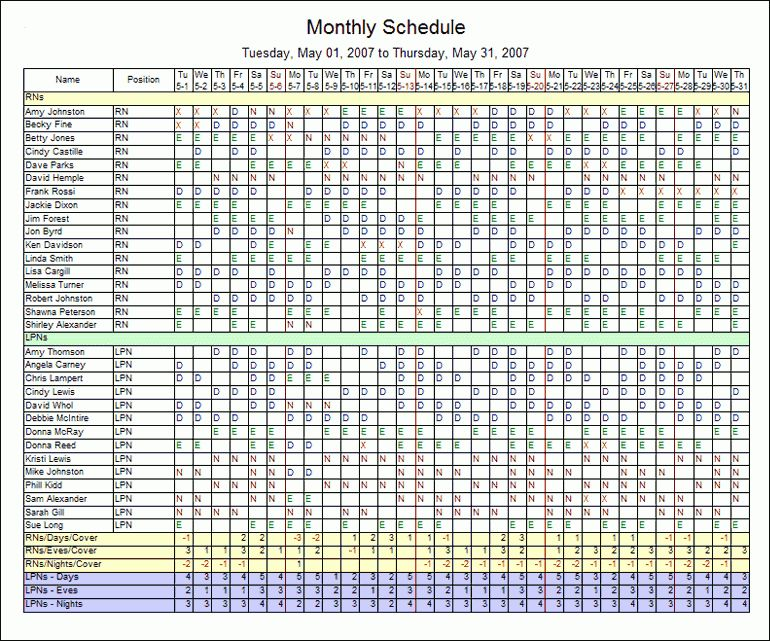 monthly staff schedule template excel - Template