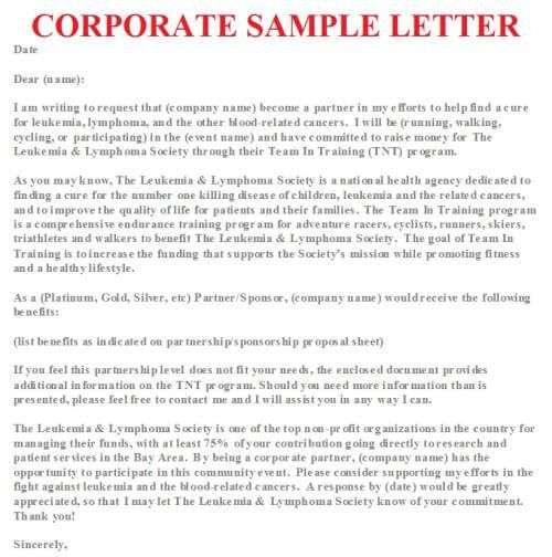 Corporate Partnership Request Letter Sample | business letter examples