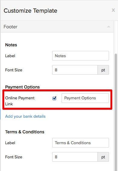 Remove the online payment link from my invoice templates