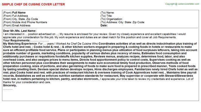 Chef De Cuisine Cover Letter