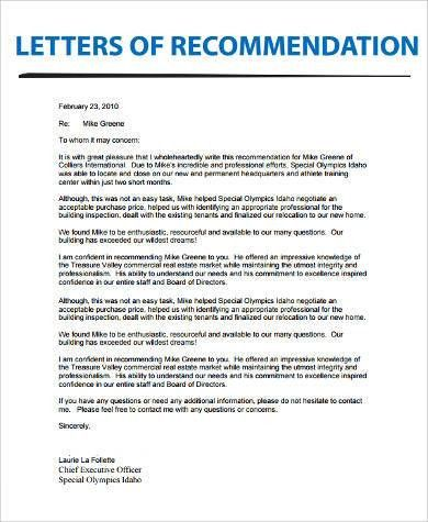 Example of Letter of Recommendation - 9+ Samples in Word, PDF