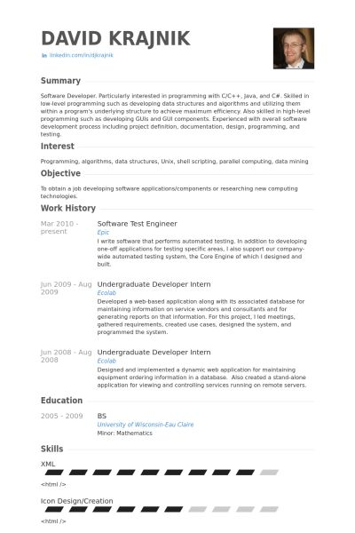 Test Engineer Resume samples - VisualCV resume samples database