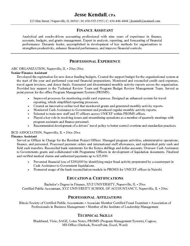 Accounting Assistant Resume Samples | Free Resumes Tips