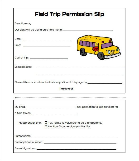 Image result for basic field trip permission slip templates ...