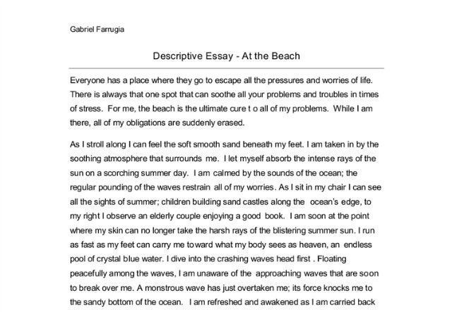 Descriptive essay about the beach example. Essay Academic Writing ...