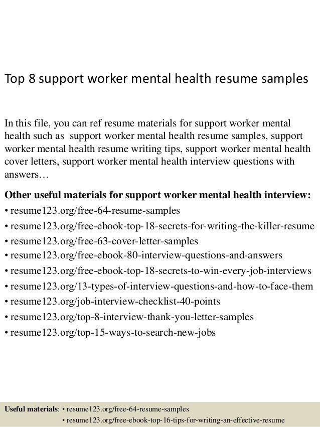 Mental Health Worker Resume - Template Examples
