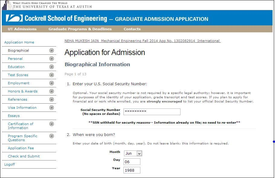 SAMPLE GRADUATE APPLICATION FORM OF UNIVERSITY OF TEXAS AT AUSTIN ...