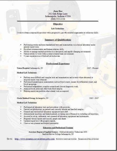 Lab Technician Resume, Occupational:examples,samples Free edit ...