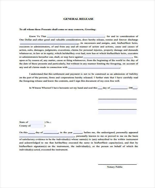 Free General Release Of Liability Form Template] Printable Sample ...