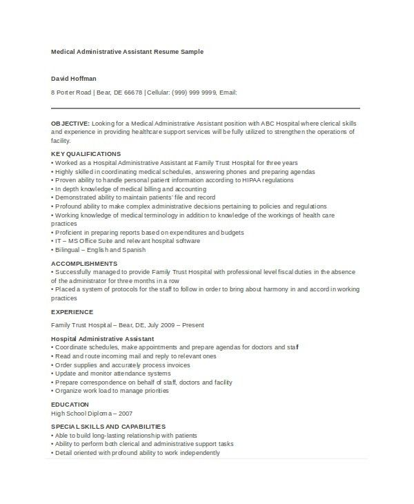 Administrative Assistant Resume Templates. Medical Office ...
