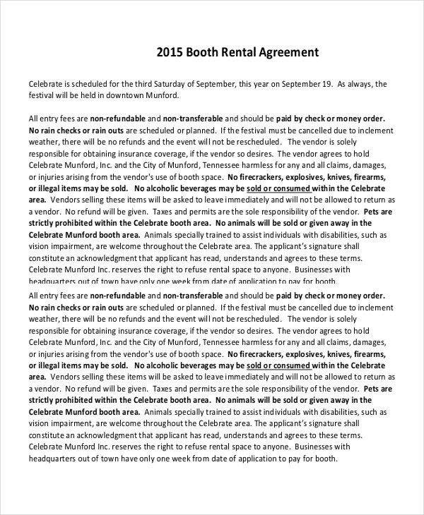 Booth Rental Agreement – 9+ Free Word, PDF Documents Download ...