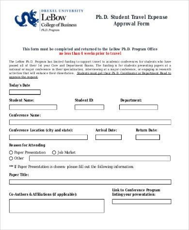 Sample Travel Approval Form - 9+ Free Documents in PDF