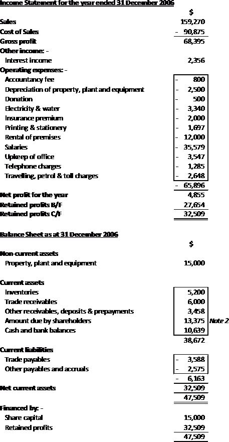 Private Limited Company – Example of Income Statement and Balance ...