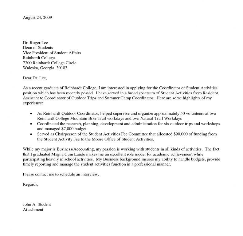 Cover Letter For Recent College Graduate - CV Resume Ideas