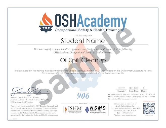 Oil Spill Cleanup Safety OSHAcademy Free Online Training
