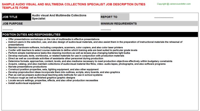 Audio Visual And Multimedia Collections Specialist Job Title Docs