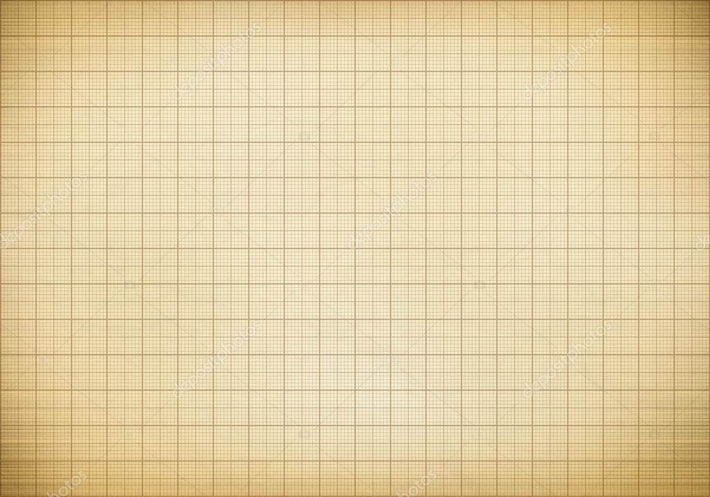 Blank millimeter old graph paper grid sheet background or textur ...