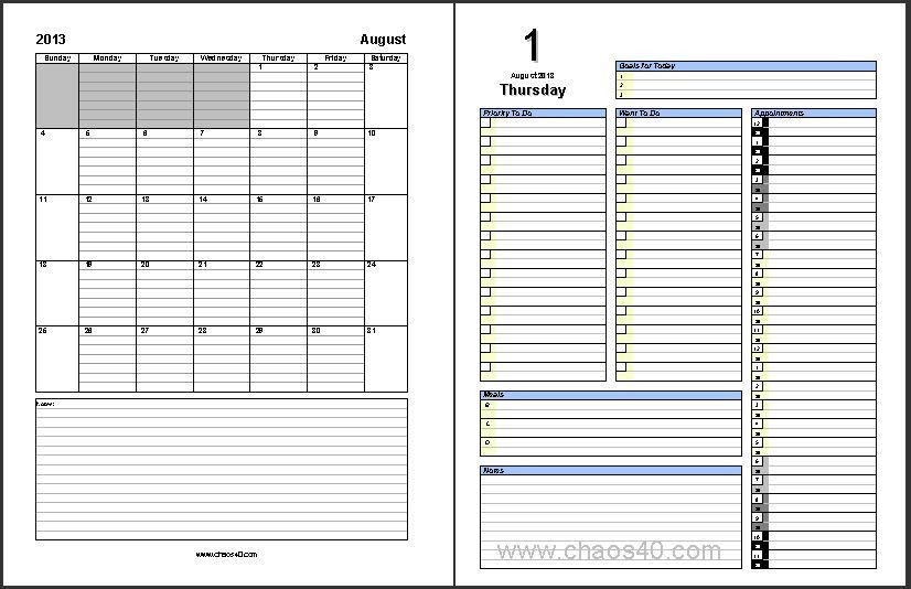 Appointment Calendar Templates. Free Microsoft Word Daily ...