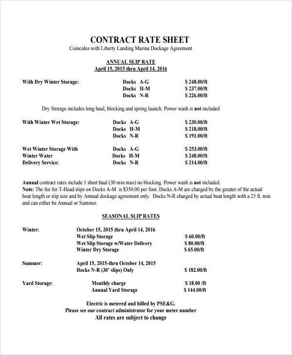 Rate Sheet Template - 9+ Free Word, Excel, PDF Document Download ...