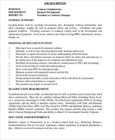 Contractor Job Description Sample - 10+ Examples in Word, PDF